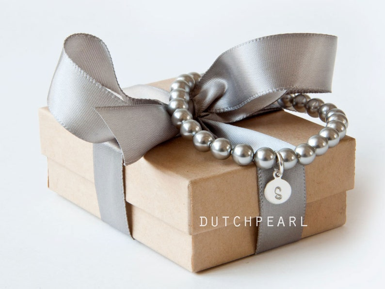 SILVER GREY 6mm pearl bracelet  bridesmaid gift flower girl image 0