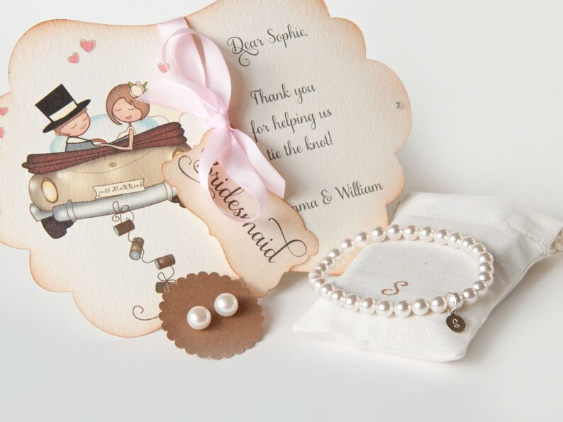 Bridesmaid Jewelry with handmade card in gift box  earrings image 0