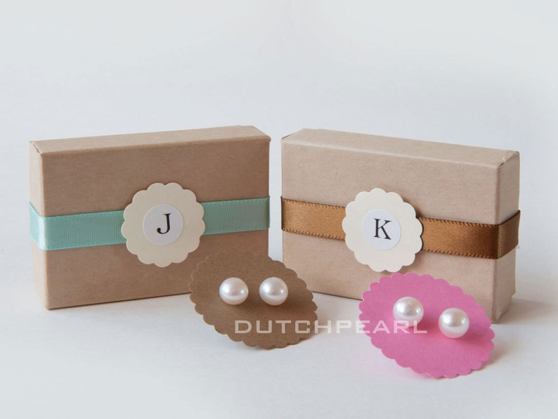 5 pairs genuine pearl earrings in monogram gift box image 0