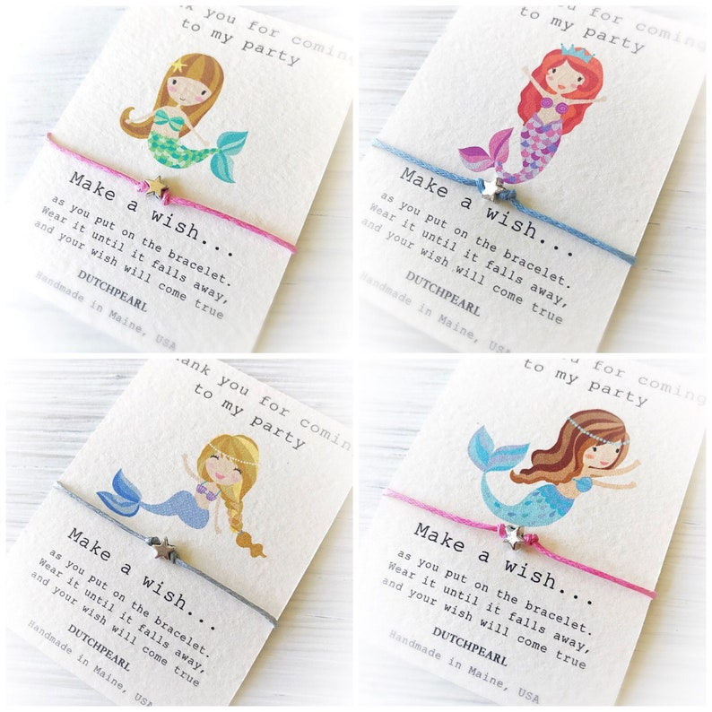 Mermaid birthday party favor wish bracelet image 0