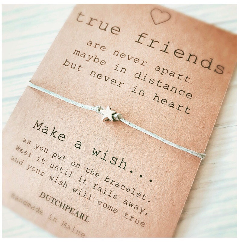 Adjustable waxed cord wish bracelet with star charm  friends image 0