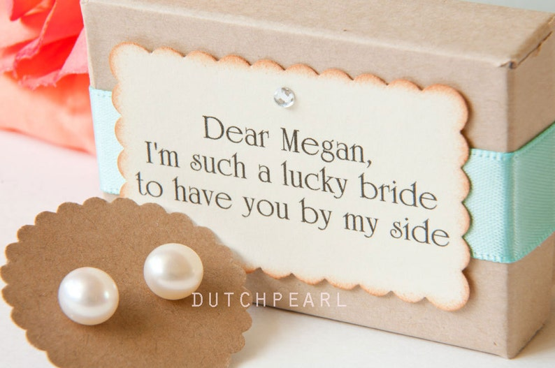 Real pearl earrings  Wedding jewelry for bridesmaids Genuine image 0