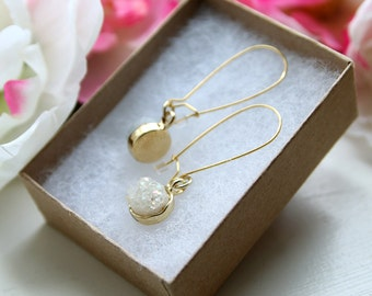 White Authentic Druzy Drop Earrings on Gold Kidney Brass Wires (Cream, Winter, Quartz, Crystal Gift Set)