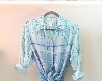 Vintage Blue 90s Womens Sheer Dress Shirt