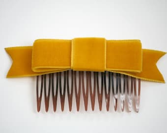 SALE Mustard Yellow Velvet Ribbon Bow Hair Comb (Special Occasion, Party, Gift, front page etsy)