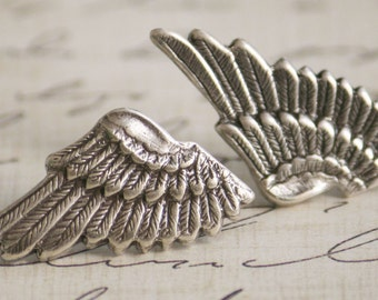 Small Sterling Silver Plated Metal Elf Angel Wings Earrings (Post, Studs)