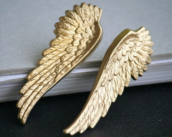Raw Brass Gold Metal Angel Wings Earrings Gift (Women, For Her, Modern)