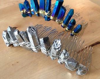 Crystal Quartz Blue or Silver Tiara Crown Haircomb  (Queen, Princess, Wedding, Bride)