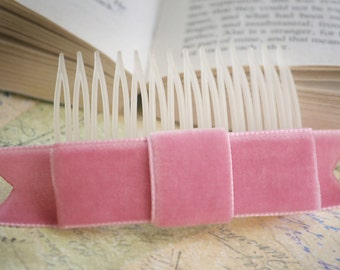 SALE Dusty Rose Pink Velvet Ribbon Bow Hair Comb  (soft, pink, petal)