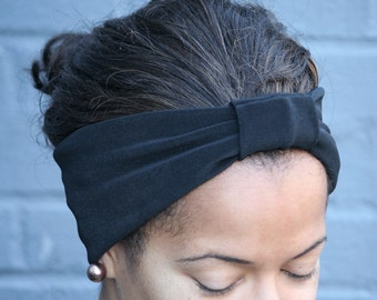 Black Jersey Knit Stretch Turban Headband (Sale, Clearance) (Stretchy, Elastic)