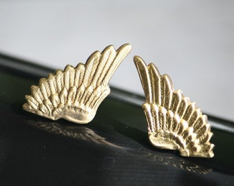 Small Gold Brass Metal Elf Angel Wings Earrings (Sensitive Ears, Hypoallergenic, Nickel & Lead Free) (Post, Studs)