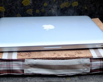 Laptop stand, gadgets for men, brown & beige plaid pillow, knietablett cork board top and cork filling, handmade gift made in Portugal