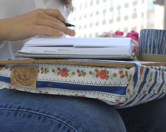 Lapdesk pillow, Christmas gifts for mom, laptop tray w/ cork board & organic filling, Portuguese traditional blue chita, floral chintz