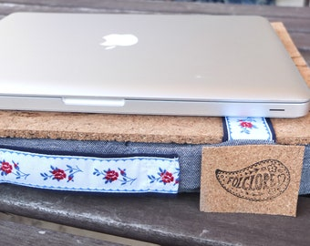 Lap tray with cushion, Christmas gift for sister, portable computer desk in denim with floral ribbon, cork top & filling, made in Portugal