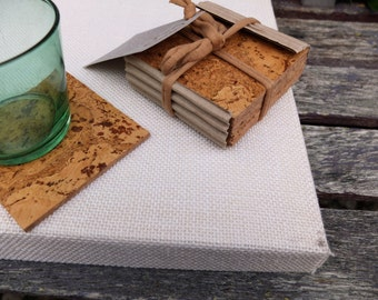 Wine cork coasters set of 4, Christmas gift ideas for men, cork drink coasters for your table; earth friendly decor; kitchenware & tableware