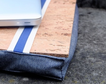 Laptop stand, gift for boyfriend, mobile desk pillow in denim Portuguese fabric with cork tray, natural filling, washable cushion