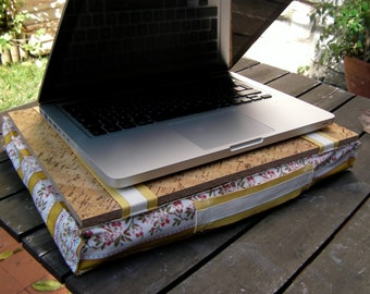 Computer lap home office idea gift, laptop lap table pillow, yellow floral traditional Portuguese fabric, chita, cork top + filling