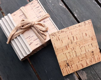 Cork drink coasters, set of four, Christmas couple gift, wine coasters; eco friendly decor; kitchenware and tableware made in Portugal