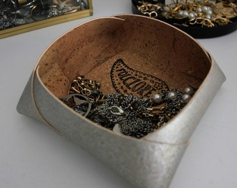 Silver cork leather valet tray, handmade jewelry box w/ double sided Portuguese cork fabric, Christmas gifts ideas for teenage girl