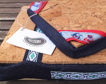 """Tablet and iPad pillow, cool Christmas gift, lap desk with cork tray, denim fabric with """"The Muppets"""" vintage ribbons & cork organic filling"""
