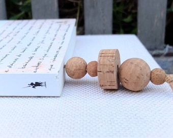 Handmade bookmark with cork beads & cork cord, Christmas gift for book lovers, beaded book mark, teachers book gifts, cork book accessories