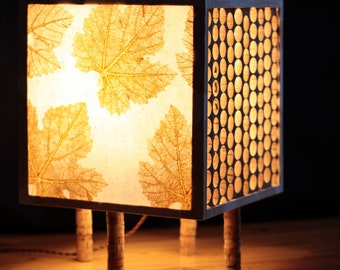 Cork and paper floor lamp handcrafted with Portuguese natural materials, sustainable indoor lighting w/ farmhouse design, vine leaf pattern
