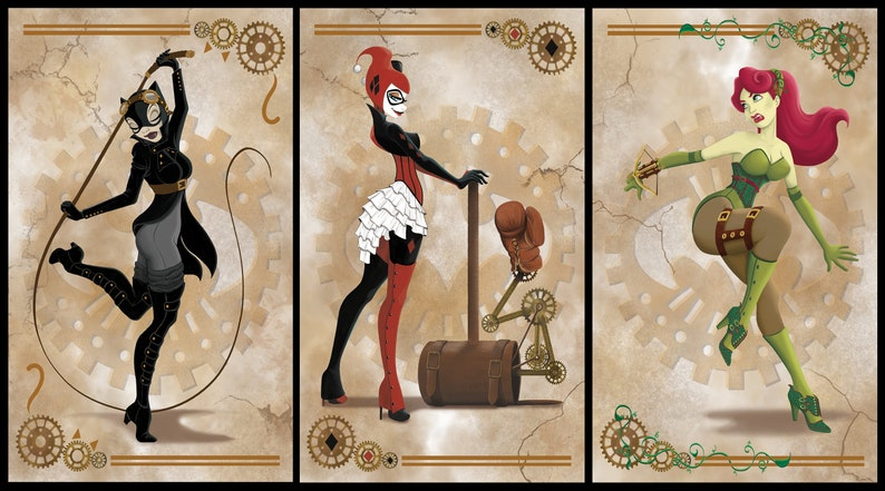 Harley Quinn Catwoman Poison Ivy Steampunk Themed 9 453x17 Etsy
