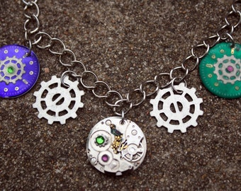 Steampunk Clockwork Necklace- Green and Purple