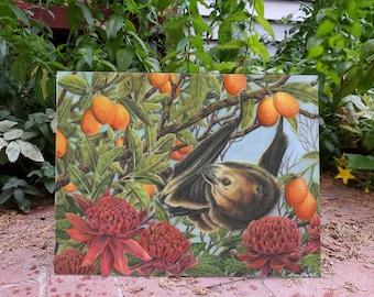 LIMITED EDITION - Tropical Paradise - 11X14 Fine Art Print - Laura Airey Le - Fruit Bat Kumquat Waratah Flowers Rainforest Mammal Flying Fox