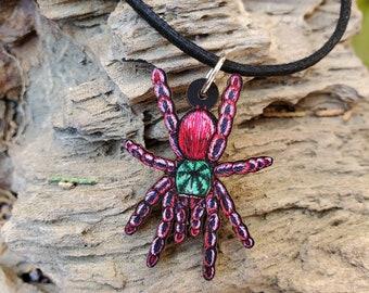 Pink Toe Tarantula - Caribena versicolor  - Wooden Pendant and Necklace