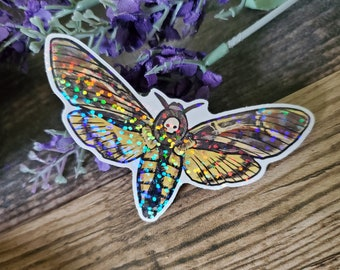 Death Head Moth - 3 inch holographic sticker - Moth Insect Bug Butterfly Rainbow Art Drawing