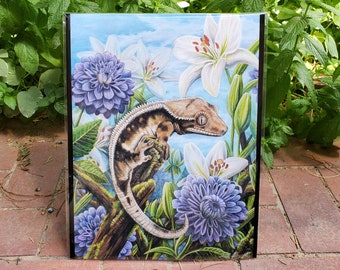 Crested Gecko Garden - LIMITED EDITION 11x14 Fine Art Print - By Laura Airey Le - Crested Gecko White Lilly Reptile Art Flowers Lizard