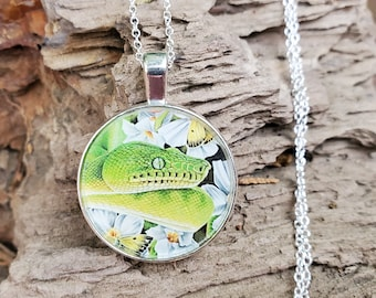 Emerald Tree Boa - Butterflies Flowers - Snake Reptile Drawing- Handmade Pendant and Necklace