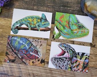 Four Chameleon Art Post Cards - Veiled Panther Carpet Chameleon Reptile Lizard Art Postcards