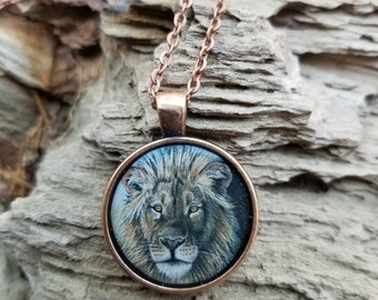 African Lion - Big Cat Drawing- Handmade Pendant and Necklace