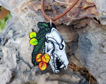 Wolf Skull - Pine Trees and Aspen Leaves - Maple Wooden Pendant and Necklace - Canine Wolf Totem Spirit Gift Nature Native American