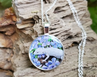 Leopard Gecko Garden - Lizard Reptile Drawing- Handmade Pendant and Necklace - Nature White Lilly Flowers