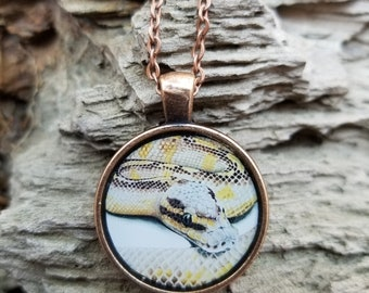 Pastel Highway Ball Python Portrait - Snake Reptile Drawing- Handmade Pendant and Necklace