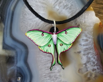 Luna Moth Wooden Pendant and Necklace - Bug Insect Animal Butterfly Green Garden Wildlife Nature Night