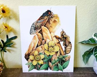BroodX Cicadas  -Fine Art Print - Citrine Crystals Healing Buttercup Sagebrus Wild Flowers Sage