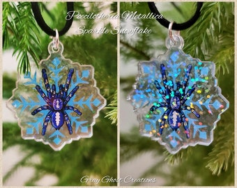 Sparkly Blue Snowflake Gooty Sapphire Tarantula - P. Metallica - Clear Acrylic Rainbow Hologram Pendant and Necklace Christmas Winter