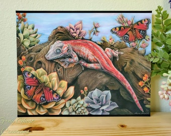Gargoyle Gecko - Fine Art Limited Edition 11x14 Print - By Laura Airey Le - Reptile Succulents Lizard Butterfly Wildlife Plants Nature