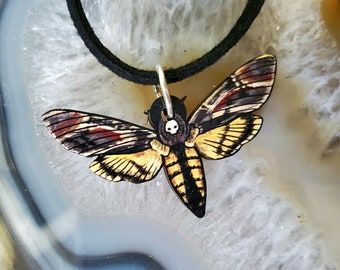 Death Head Moth Wooden Pendant and Necklace - Bug Insect Animal Butterfly Green Garden Wildlife Nature Night Hawk