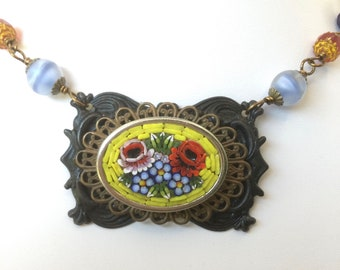 Yellow vintage micro mosaic upcycled necklace