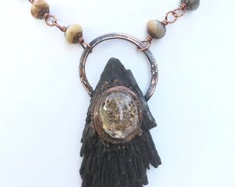 Witchy Woman Kyanite fan necklace with lodalite quartz and amazonite