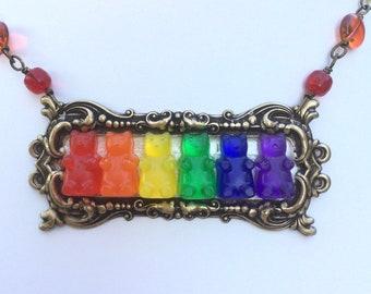Rainbow Resin Gummy Bear necklace