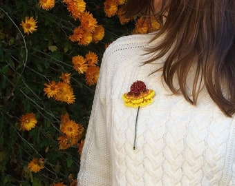 Helenium flower brooch, Yellow burgundy flower, Fluffy flowers Jewellery,Summer Embroidery, big statement pin