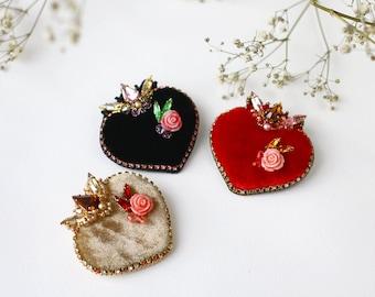 Sacred Heart Brooch, Silk velvet heart Pin, Peach Rose flower, Heart of Mary, Swarovski crystals embroidery, Sparkle heart jewellery,