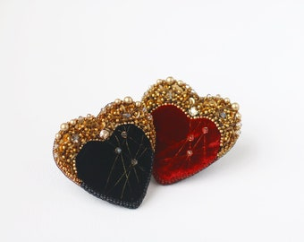 Heart Brooch,  Red and Black Silk velvet heart pin, Valentines Day Gift, Gold crystals embroidery, Sparkle heart jewellery, modern obidome
