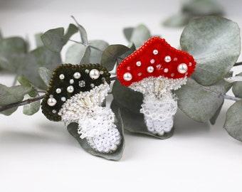 Amanita Mushroom Brooch, Silk velvet Pin, Red Olive Turquoise, Swarovski pearls embroidery, Couple brooch set, Forest Nature, Obidome kawaii